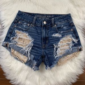 American Eagle Hi Rise Festival Distressed Shorts